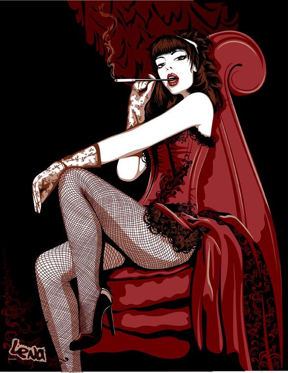 Вектор Курение женщины