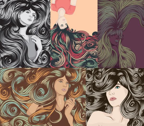 クールな女性の複雑な髪ベクトル材料
