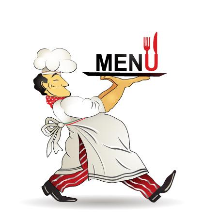 Restaurant Menü Design Vektor Clip chef