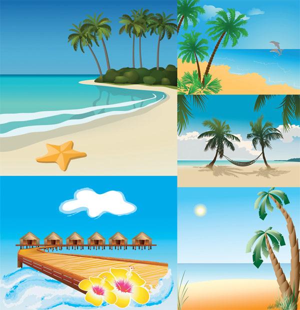 Paysages de plage de vecteur 5