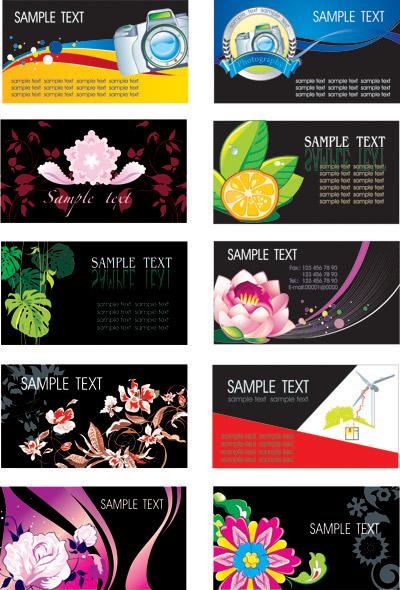 植物の花テーマ カード テンプレート ベクトル材料