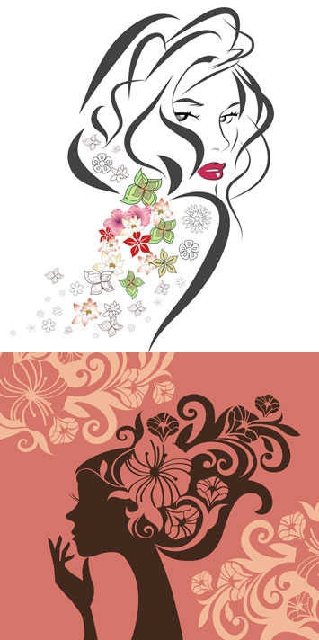 ดอกไม้เวกเตอร์ผู้หญิงในโปรไฟล์