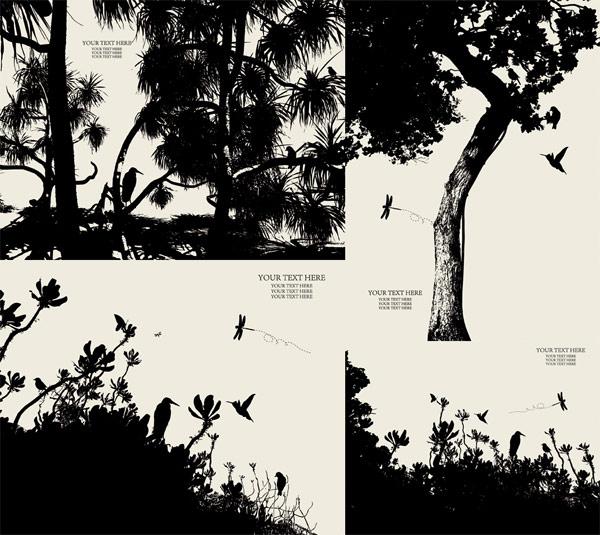 Silueta de vectores de árboles