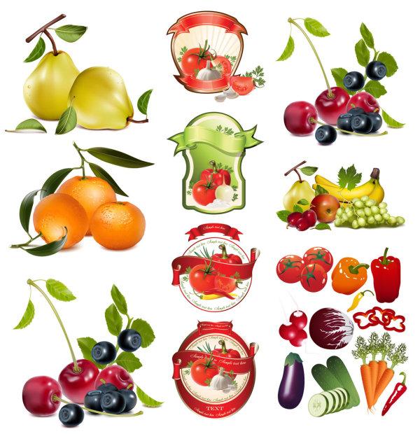 Tema Vector frutas y verduras