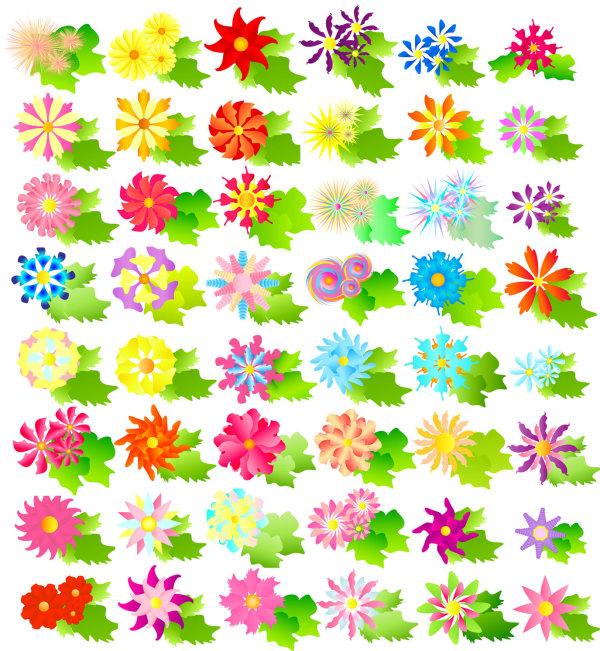 カラフルな花のベクトル材料