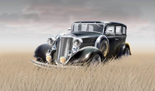 草の素材で、古い車のベクトル
