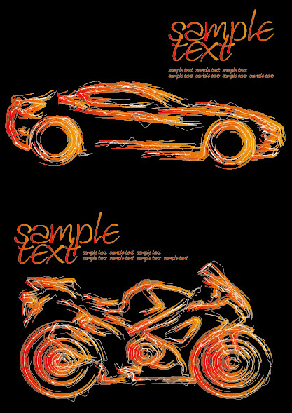 Motocicletas y automóviles de pincel vectoriales