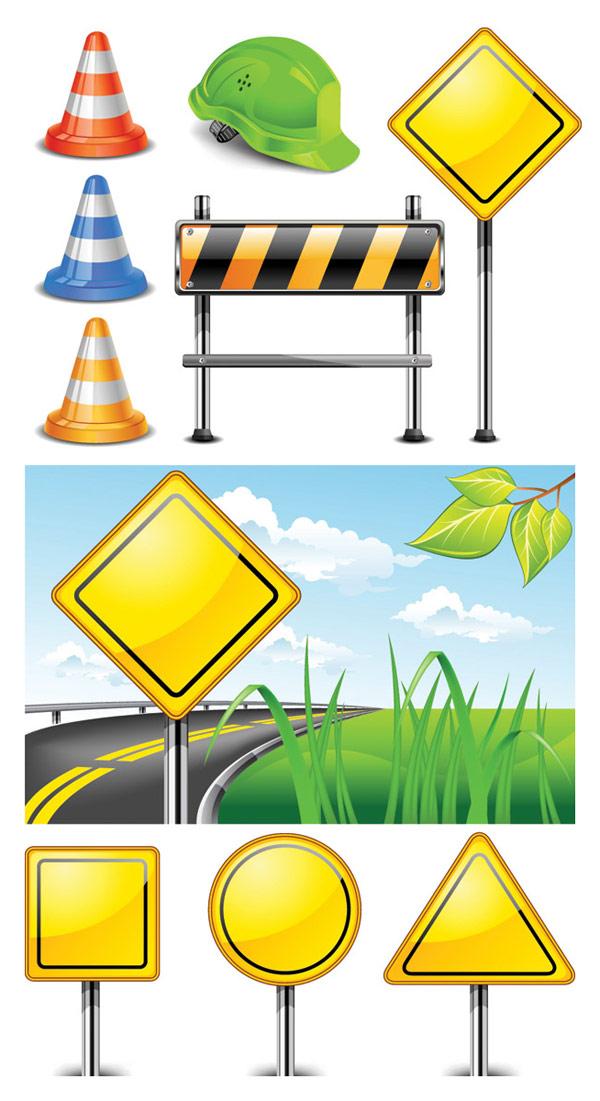 Вектор знаки дорожные заграждения