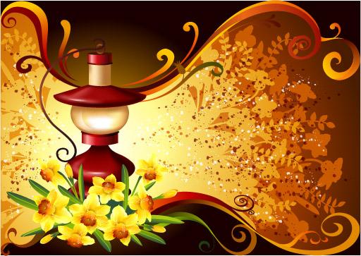 แนวโน้มลายดอกไม้แบบเวกเตอร์ -1