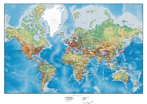 Mapa del mundo con planes de Vector de terreno ondulado