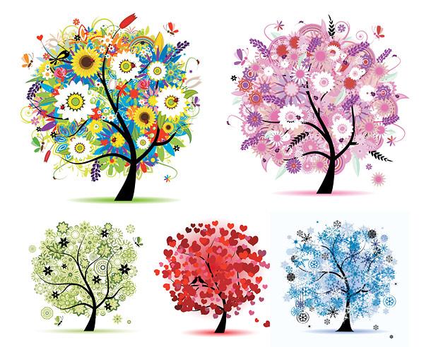 Material de vectores de árbol de temporadas