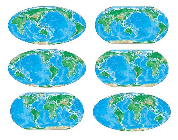 Различные цветовые версии векторной карты мира