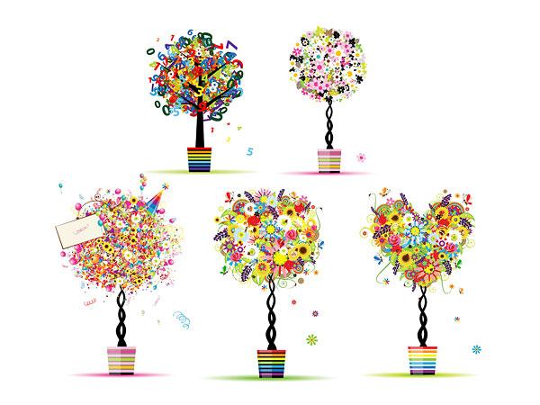 Красочные узор, состоящий из маленьких деревьев