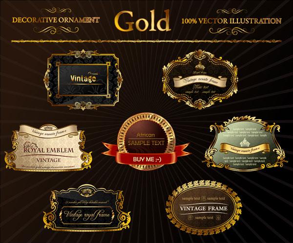 orné gold label vecteur