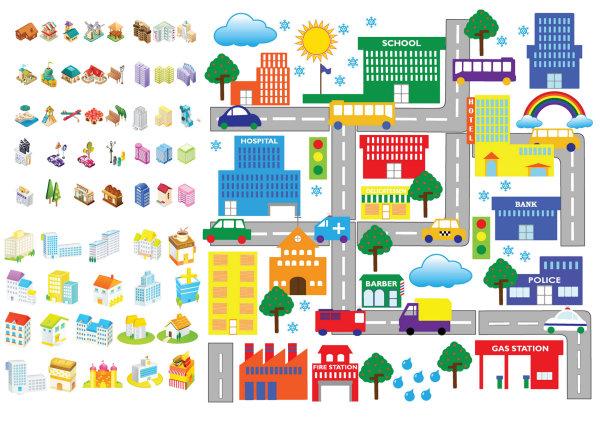 Palabras clave: dibujos animados, arquitectura, iconos, casa ...