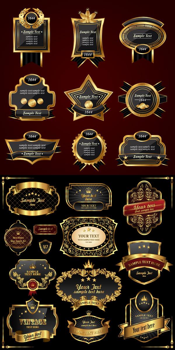 Etiqueta de estilo Europeo oro Vector