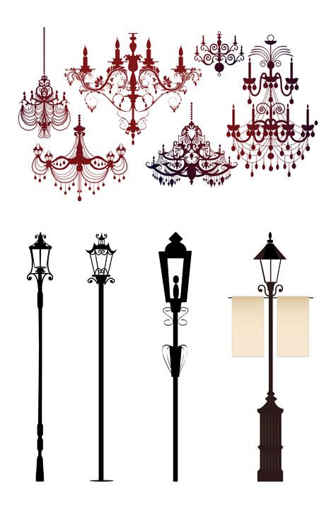 ベクトルの装飾が施されたシャンデリアのライトをシルエットします。