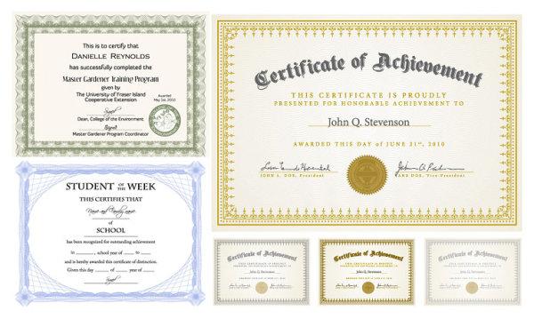 Certificado de diseño vectorial seis