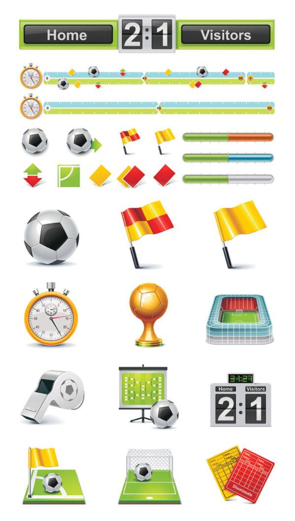 Ícones do vetor do tema de futebol