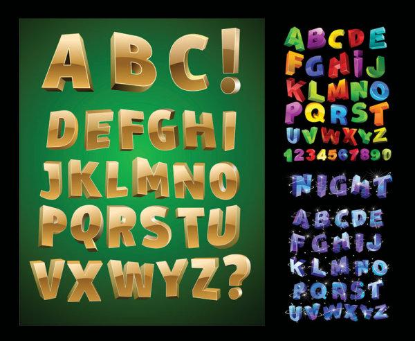 Letras tridimensionales Vector