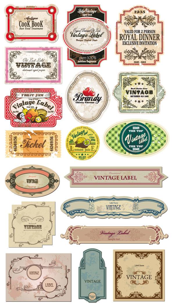 Classique des étiquettes de bouteilles de style européen et des autocollants - matériel de vecteur