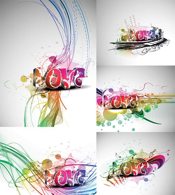 Cool art tridimensionnelle du mot matériel de vecteur de Love