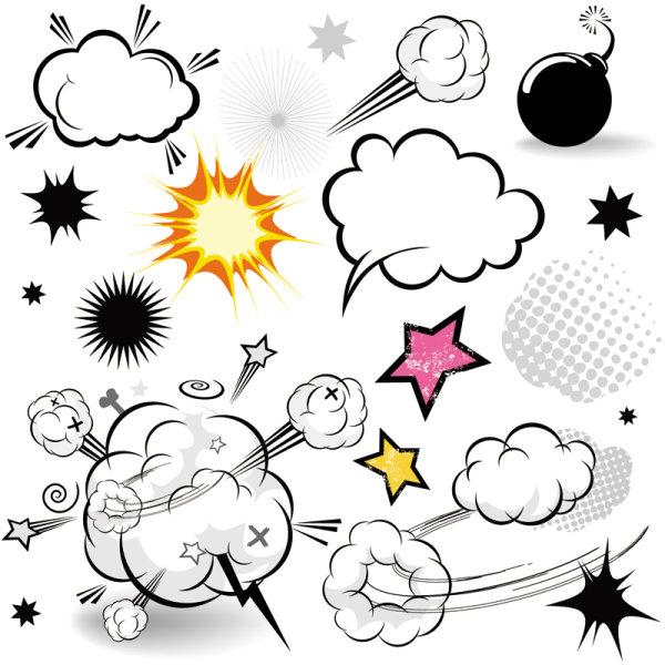 Capa de nube de hongo de dibujos animados-estilo 01 - Vector