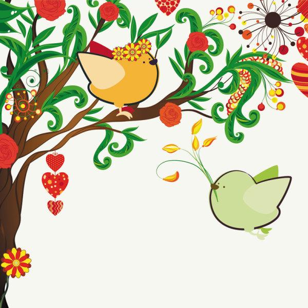 illustrations peintes à la main les oiseaux Love 01 - vecteur