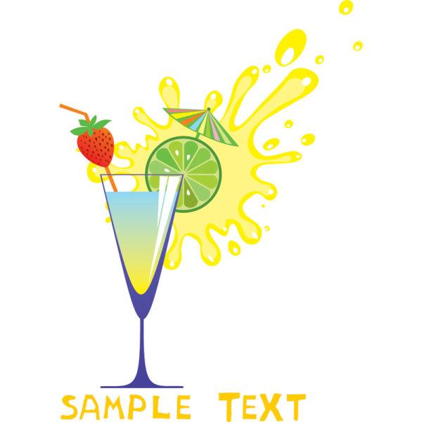 05 - Vector de dibujos animados de jugos de frutas y vidrio altas