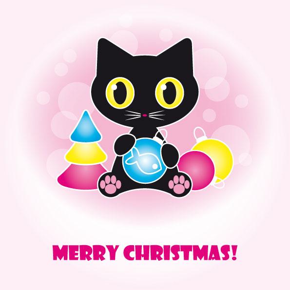 Matériau de vecteur de chat noir mignons