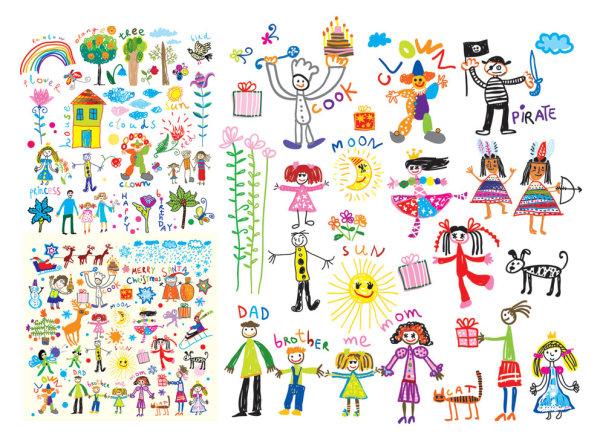 Palabras clave: dibujos animados, guapo, niños, pintura ...