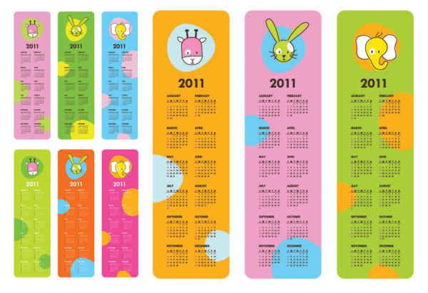 Matériau de vecteur de calendrier 2011 très mignon