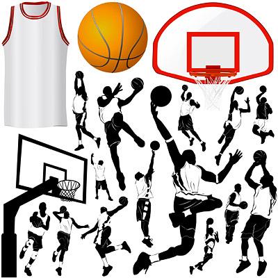 Elementos vectoriales de tema de baloncesto