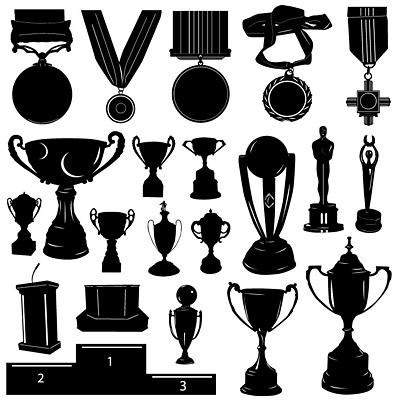Медали и призы силуэт вектор