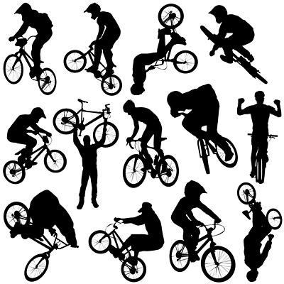 Vector personas silueta deportiva de ciclismo