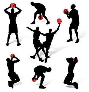 Silueta de figuras de acción de baloncesto