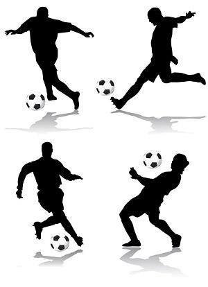 ตัวเลขการกระทำของฟุตบอล 4 silhouette เวกเตอร์