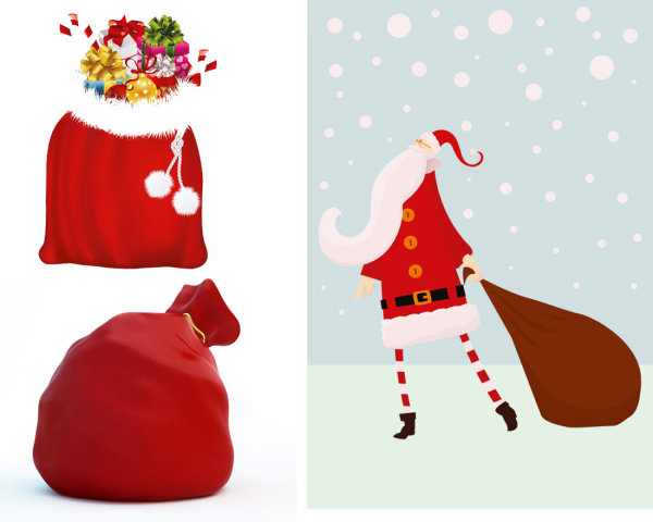 Santa Claus y bolsas de regalo - Vector