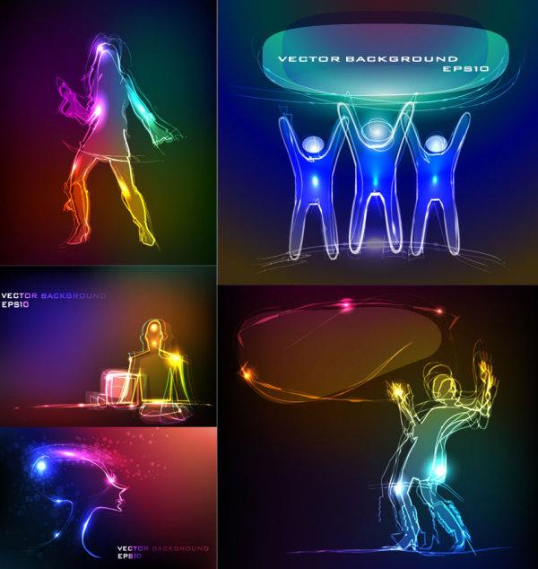 Composição do material do vetor luz tarefa