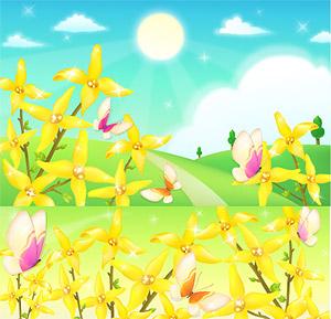 Las afueras de flores y mariposas de vectores de material