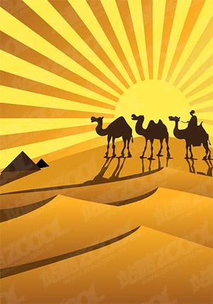 黄金の砂漠のラクダ シルエット ベクトル