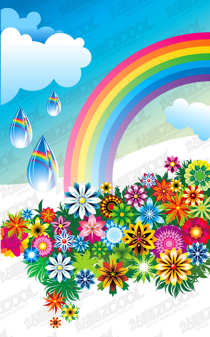 Fleurs colorées arc-en-ciel