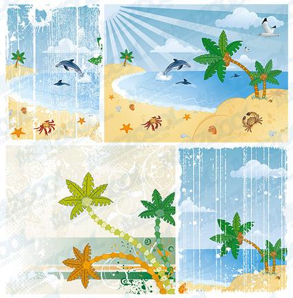 वेक्टर कार्टून समुद्र तट दृश्यावली