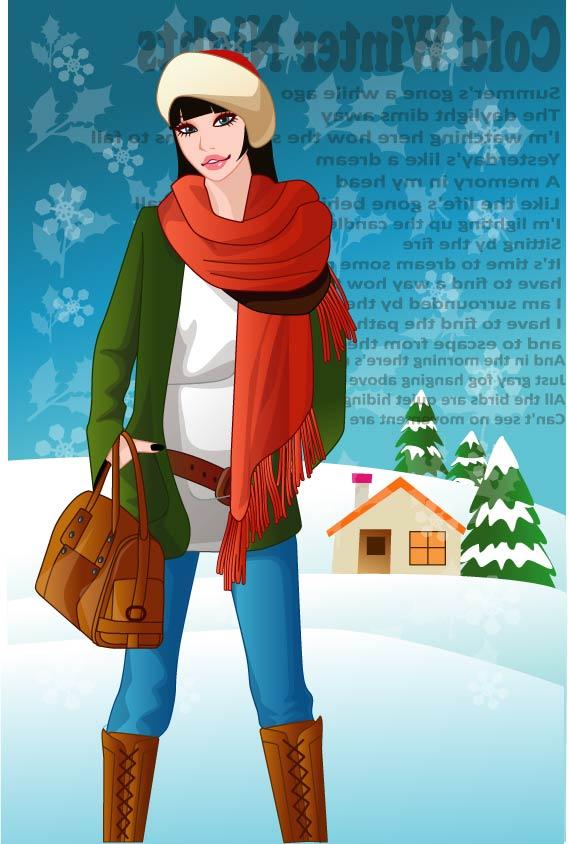 Mujer de invierno de vectores