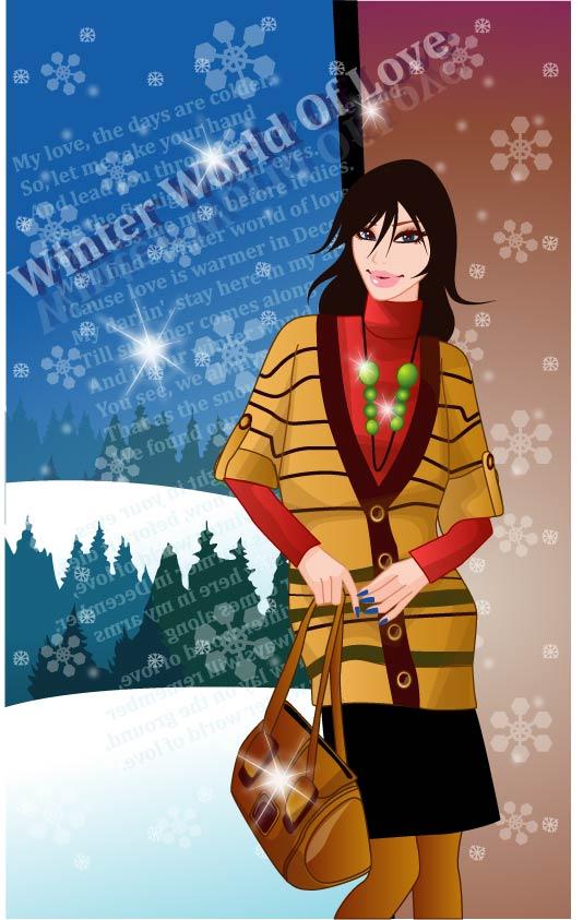 여자 벡터 9 겨울
