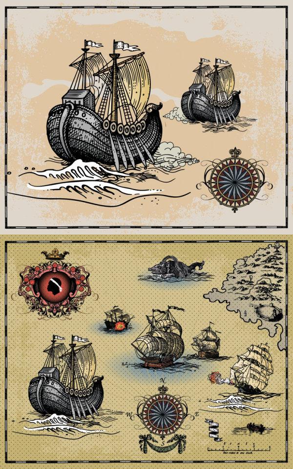 Navires de guerre antique voile - vecteur
