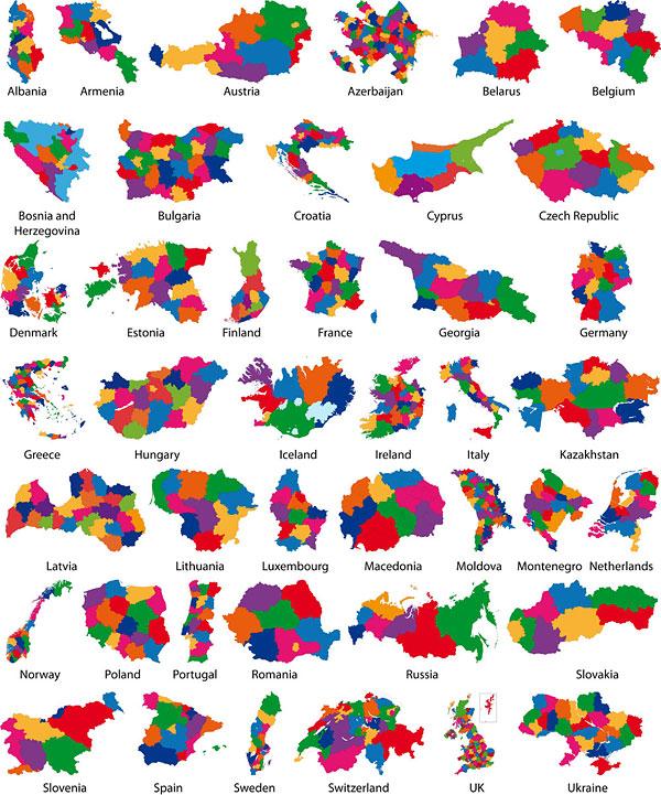Vecteur de silhouette de carte colorée matériel -2