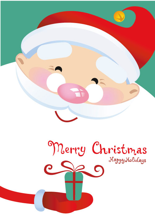 Père Noel Mignon Beau Père Noël Vecteur