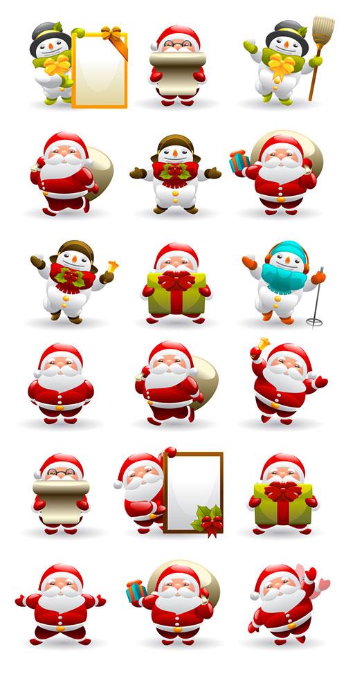 Симпатичные Санта Клауса и снеговик вектор