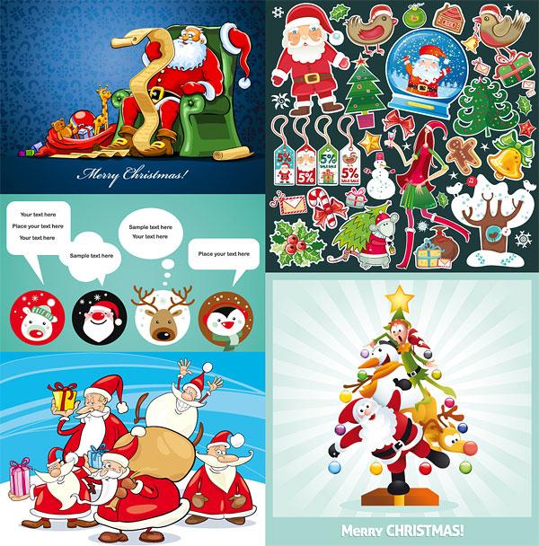 Несколько мило рождественские темы векторные